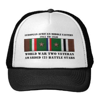 2 BATTLE STARS / WORLD WAR II VETERAN TRUCKER HAT
