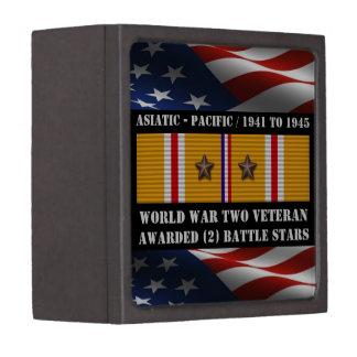 2 BATTLE STARS WWII Asiatic Pacific Veteran Gift Box