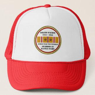 2 BATTLE STARS WWII Asiatic Pacific Veteran Trucker Hat