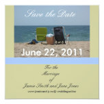 """2 Beach Chairs Save the Date Cards 5.25"""" Square Invitation Card"""