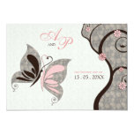 2 Become 1 Kissing Butterflies Wedding Invitation