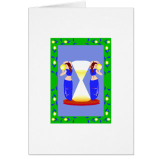 2 belly dancers and an hour glass.png greeting card