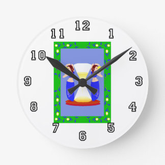 2 belly dancers and an hour glass.png round wall clock
