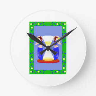 2 belly dancers and an hour glass.png round wall clocks