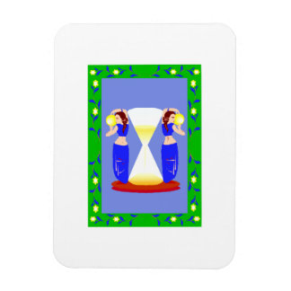 2 belly dancers and an hour glass.png rectangular magnet