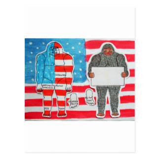 2 big foo A, text & flag on U.S.A.flag, Postcard