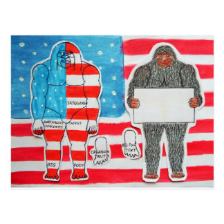 2 big foo A, text & flag on U.S.A.flag, Post Cards