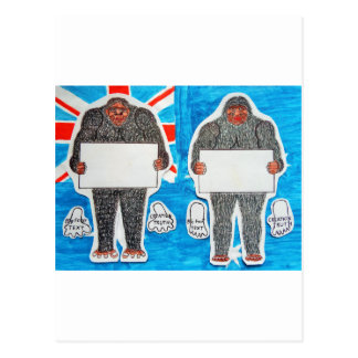 2 big foot text, on Aussie flag. Postcard