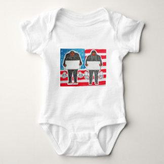 2 big foot text, on U.S.A. flag. Baby Bodysuit