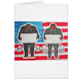 2 big foot text, on U.S.A. flag . Card
