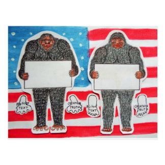 2 big foot text, on U.S.A. flag . Postcard