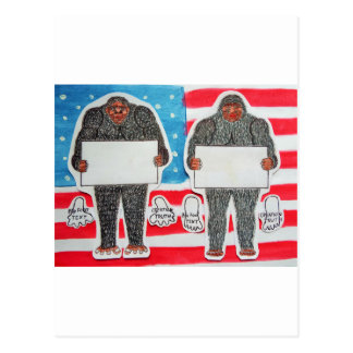 2 big foot text, on U.S.A. flag . Postcard