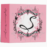 "2"" Binder Monogram Butterfly Zebra Animal Print Fa"