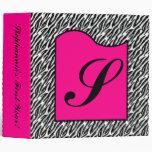 "2"" Binder Monogram Hot Pink Zebra Animal Print"