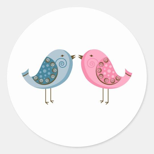2 Birds Classic Round Sticker