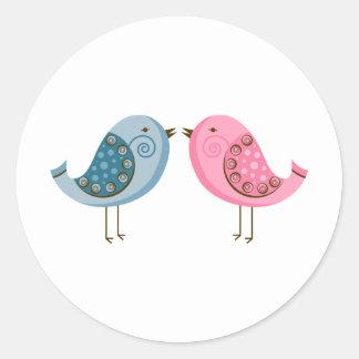 2 Birds Round Stickers