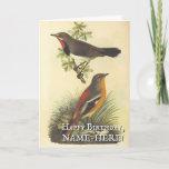 [ Thumbnail: 2 Birds, Vintage Look Birthday Greeting Card ]