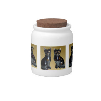 2 Black CATS -  Pet Statue Candy Jars