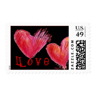 2 Black Love Hearts Postage Stamps