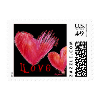 2 Black Love Hearts Small Postage