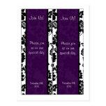 2 Black/Purple Floral Damask Wedding Bookmarks Postcard