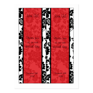 2 Black/Red Floral Damask Wedding Bookmarks Postcard