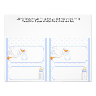 2 Blue Baby Shower Favor Custom Candy Bar Wrappers
