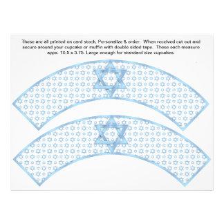 2 Blue Bar Mitzvah Custom Cupcake Wrappers Flyer