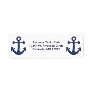 2 Blue Boat Ship Anchors Custom Name or Yacht Club Return Address Label