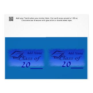 2 Blue Graduation Favor Custom Candy Bar Wrapper Full Color Flyer