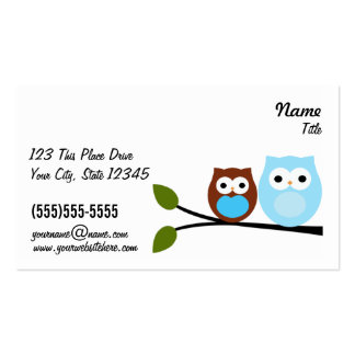 2 Blue Owls Bussiness Cards Double-Sided Standard Business Cards (Pack Of 100)