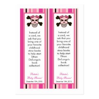 2 Book Marks Girl Pink Punk Rock Skull Crossbones Post Card