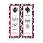 2 Book Marks Hot Pink Black Damask Postcard