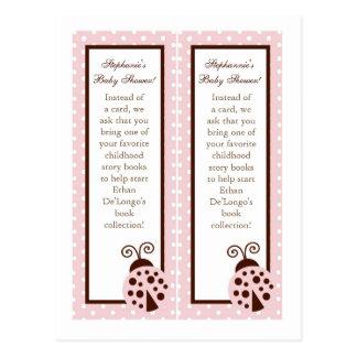 2 Book Marks Pink Ladybug Postcard
