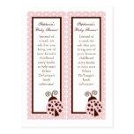 2 Book Marks Pink Ladybug Postcards