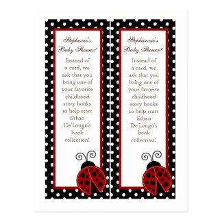 2 Book Marks Red Ladybug Postcard