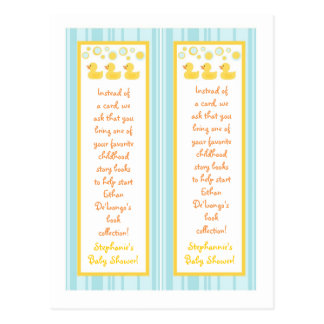 2 Book Marks Rubber Ducky Bubbles Postcard