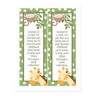 2 Book Marks Safari Jungle Giraffe Monkey Green Postcard