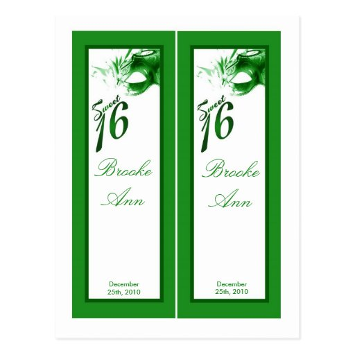 2 Book Marks Sweet 16 Green Party Postcard