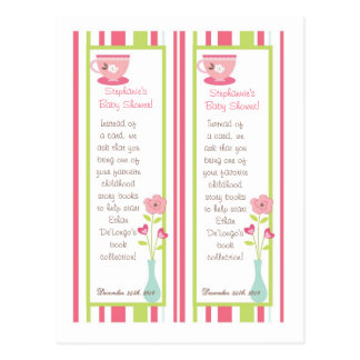2 Book Marks Tea Party Pink Pastel Flowers Post Card