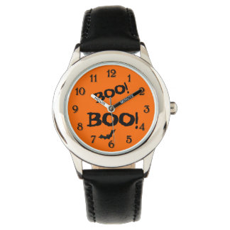 2 Boo's and a Bat Halloween Black and Orange Theme Wristwatch