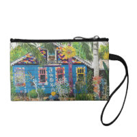 2 Bowling Ball House Paintings Key Coin Clutch