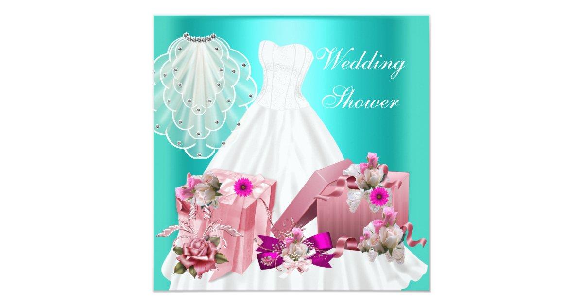 Turquoise Fuchsia Wedding: 2 Bridal Wedding Shower Fuchsia Turquoise Pink Invitation