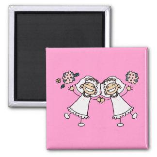 2 Brides 2 Inch Square Magnet