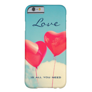 2 Bright Red Heart Shaped balloons Floating Upward Barely There iPhone 6 Case