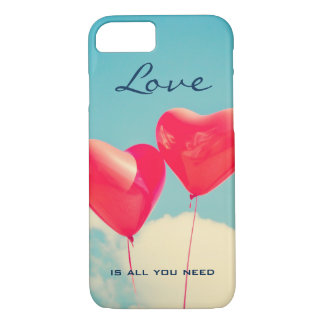 2 Bright Red Heart Shaped balloons Floating Upward iPhone 7 Case