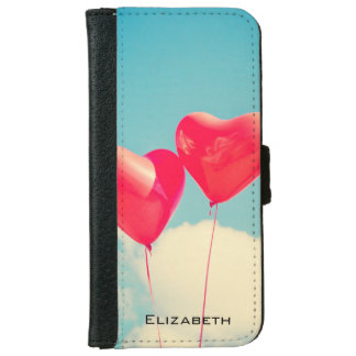2 Bright Red Heart Shaped balloons Floating Upward Wallet Phone Case For iPhone 6/6s