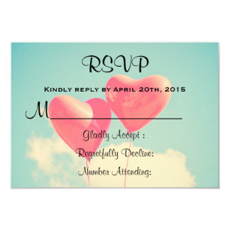 2 Bright Red Heart Shaped balloons RSVP Card