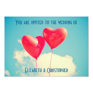 2 Bright Red Heart Shaped Balloons Wedding Card
