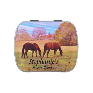 2 Brown horses in a colored field Jelly Belly Candy Tins